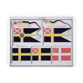 Escandinavo señala por medio de una bandera, de un imán flexible