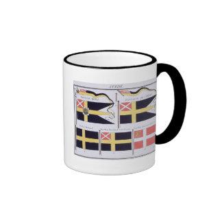 Escandinavo señala por medio de una bandera de un tazas de café