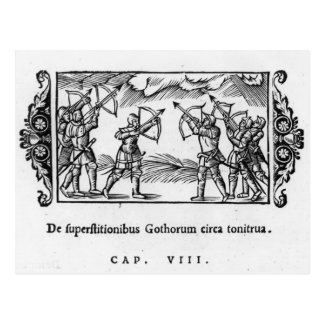 Escandinavos que usan sus flechas tarjeta postal