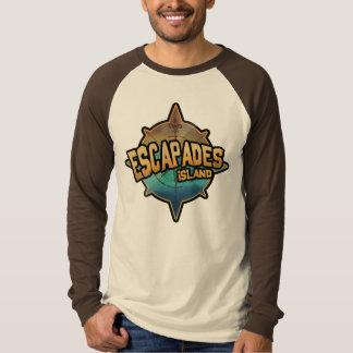 Escapades Logo on a Reglan retro style brown shirt