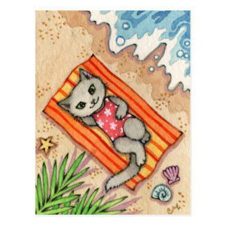 Escape - Cute Beach Cat Art Postcard