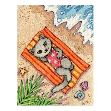 Beach Themed Escape - Cute Beach Cat Art Postcard