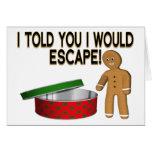 Escape de la galleta tarjeta