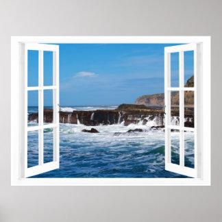 Escape de la playa de la ventana abierta impresiones