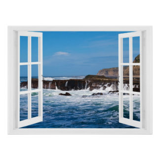 Escape de la playa de la ventana abierta póster