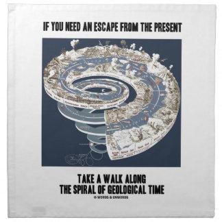 Escape del actual paseo a lo largo del tiempo servilleta imprimida