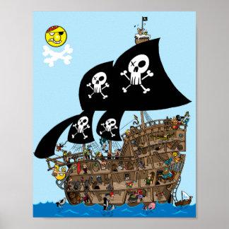 Escape del barco pirata póster