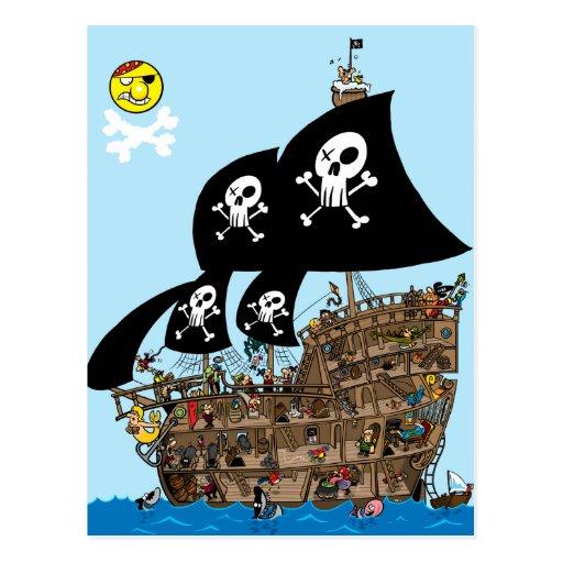 Escape del barco pirata tarjetas postales