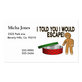 Escape del hombre de pan de jengibre de la galleta tarjeta personal