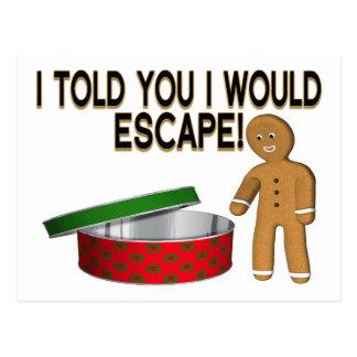 Escape del hombre de pan de jengibre de la galleta tarjeta postal