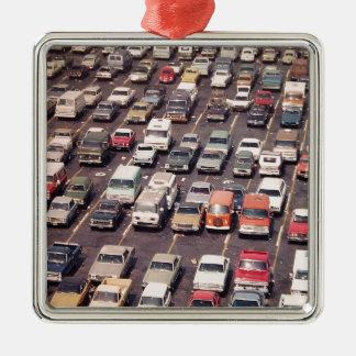 Escape el an o 80 del verano - aparcamiento adorno navideño cuadrado de metal