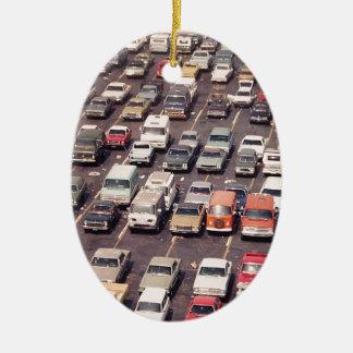 Escape el an o 80 del verano - aparcamiento adorno navideño ovalado de cerámica