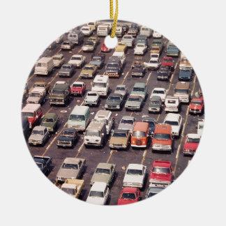 Escape el an o 80 del verano - aparcamiento adorno navideño redondo de cerámica