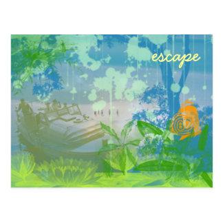 escape, escape postcard