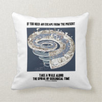 Escape From Present Walk Along Geological Time Throw Pillow