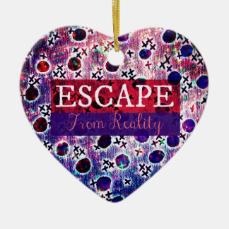 ESCAPE FROM REALITY Typography Purple Art Hipster Christmas Ornament