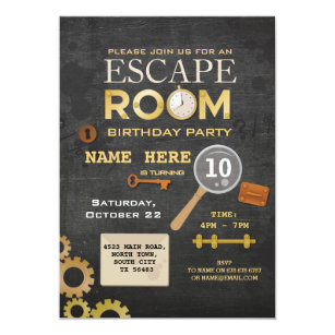 photograph regarding Free Escape Room Printable identified as Escape Space Birthday Social gathering Clues Invitation Spy