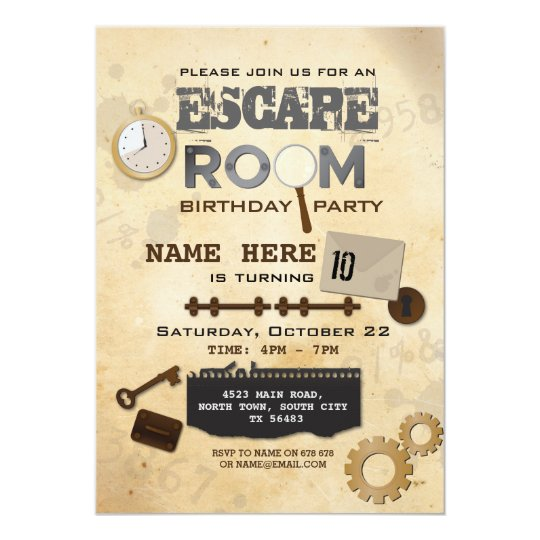 100 year old birthday party invitation for Escape room party