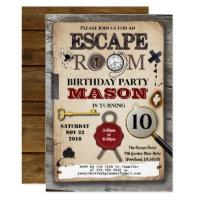 Escape room mystery solving challenge birthday invitation
