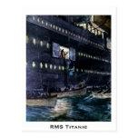 ¡Escape titánico del RMS a los botes salvavidas Postal