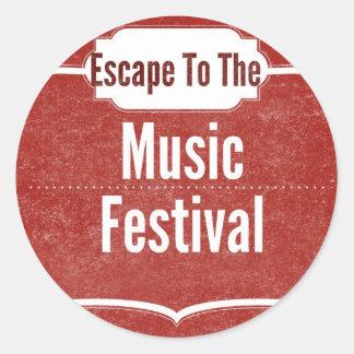 Escape To The Music Festival Classic Round Sticker