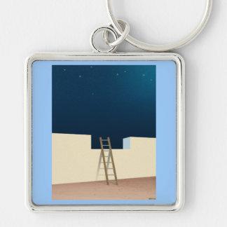 Escape To The Stars Silver-Colored Square Keychain