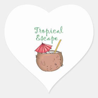 Escape tropical pegatina de corazon