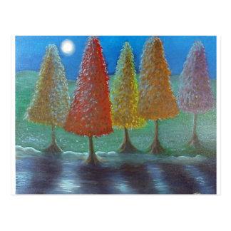 Escaping Christmas Trees Postcard