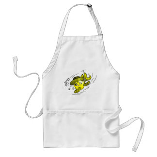 Escaping from the fly Funny Ozi Fish Cartoon Adult Apron
