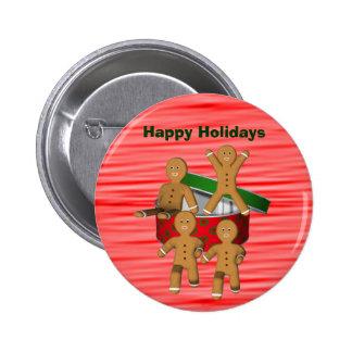 Escaping Gingerbread Men Christmas Button Pin
