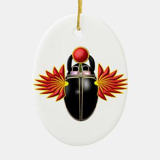 Escarabajeo escarabajo de suerte adorno navideño ovalado de cerámica