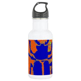 Escarabajo azul en la tierra anaranjada por botella de agua de acero inoxidable