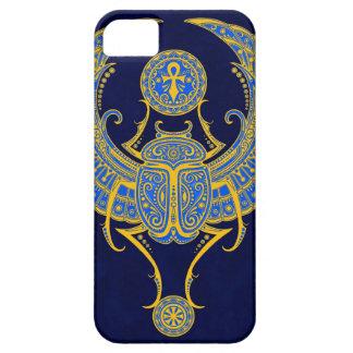 Escarabajo con alas egipcio, azul funda para iPhone 5 barely there
