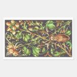 Escarabajo de cuernos en Brown Rectangular Pegatinas