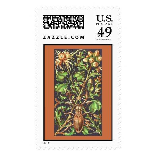 Escarabajo de cuernos en la impresión del vintage