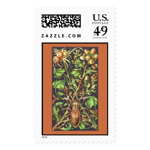 Escarabajo de cuernos en la impresión del vintage envio