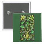 Escarabajo de cuernos en oro y la impresión verde  pins