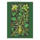 Escarabajo de cuernos en oro y la impresión verde  tarjetas