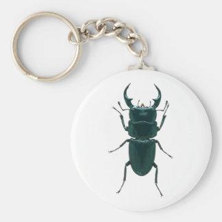 Escarabajo de estiércol negro grande llavero redondo tipo pin