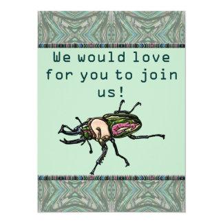 Escarabajo de macho del arco iris invitación 13,9 x 19,0 cm