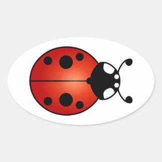 Escarabajo de mariquita afortunado de la mariquita pegatina ovalada