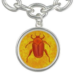 Escarabajo del Rojo-Naranja Pulseras Con Dijer