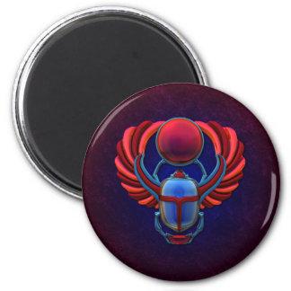 Escarabajo egipcio colorido imán redondo 5 cm
