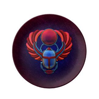 Escarabajo egipcio colorido plato de cerámica