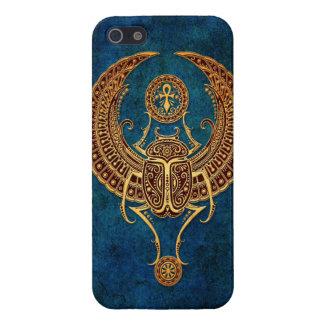 Escarabajo egipcio con alas con Ankh - azul del es iPhone 5 Carcasa