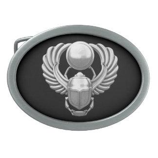 Escarabajo egipcio de plata hebillas de cinturon ovales