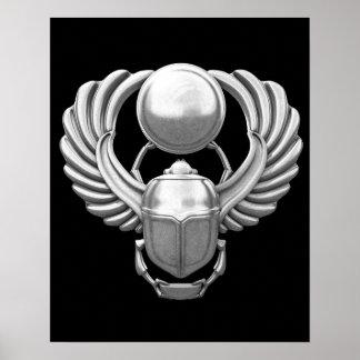 Escarabajo egipcio de plata impresiones