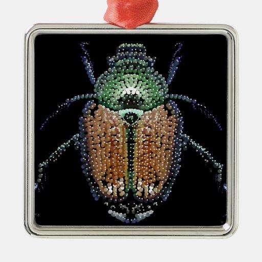 Escarabajo japonés adorno navideño cuadrado de metal
