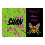 Escarabajo personal del verde del rosa de la tarje tarjeta de visita