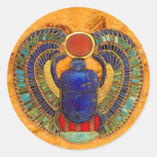 Escarabajo sagrado de Egipto antiguo Etiqueta Redonda